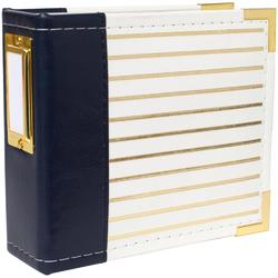"Instagram Album 4""x4"" Ring – Navy w/Gold Foil Stripes - 1"