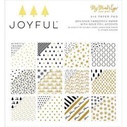 "Joyful Gold Double-Sided Paper Pad 6""X6"" 24/Pkg"