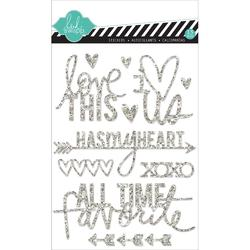 Love Silver Mixed Media Glitter Stickers - 1