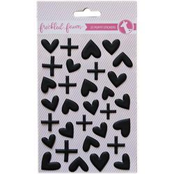 Matte Black Hearts/Plus Signs Puffy Stickers