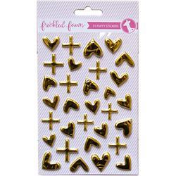 Metallic Gold Hearts/Plus Signs Puffy Stickers