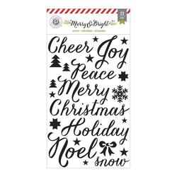 "Merry & Bright Black Word Glitter Stickers 5""x8"""