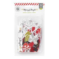 Merry & Bright Ephemera Cardstock Die-Cuts w/Glitter 70 pkg - 1