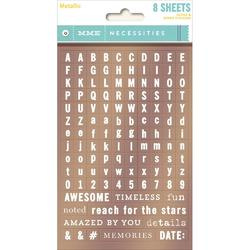 Mettalic Necessities Tiny Word & Alpha Stickers 8/Sheets