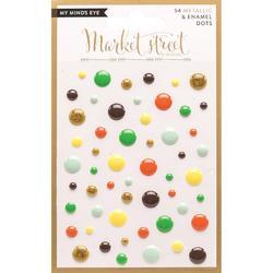 Nob Hill Market Street Adhesive Metallic & Enamel Dots 54pkg