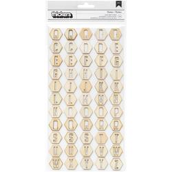 Notes & Things Thickers Alpha Stickers Wood Veneer