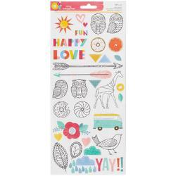 "Oh Happy Life Accent/Phrases Stickers 6""X12"" 2/Pkg"
