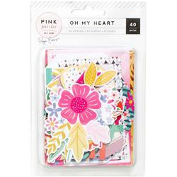 Oh My Heart Ephemera Cardstock Die-Cuts W/Rose Gold Foil 40/Pkg