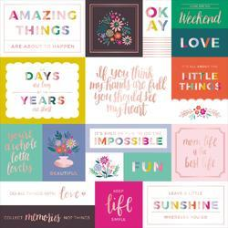 """Oh My Heart Foiled Cardstock w/Rose Gold 12""""X12"""""""