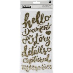 Open Book Story Phrases/Gold Glitter Foam Thickers Stickers - 1