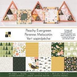 "Peachy Evergreen Single-Sided Paper Stack 12""x12"" w/Gold Foil"