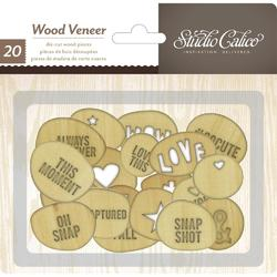 Printshop Laser Cut Wood Veneer Circles 20 pkg