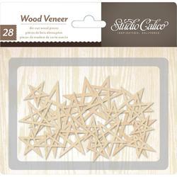 Printshop Laser-Cut Wood Veneer Stars 28 pkg