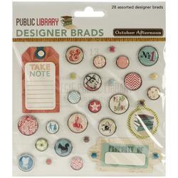 Public Library Designer Brads 28 pkg - 1