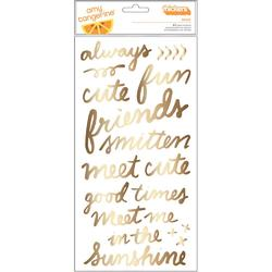 Rise & Shine Grace Phrase/Gold Foil Thickers Stickers