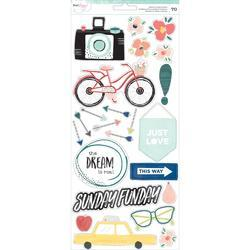 "Saturday Accents & Phrases Stickers 6""X12"" 2/Pkg"