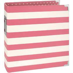 """Sn@p! Pink Stripe Designer Binder 6""""x8"""" - 1"""
