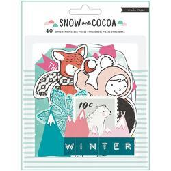 Snow & Cocoa Acetate Ephemera 40/Pkg