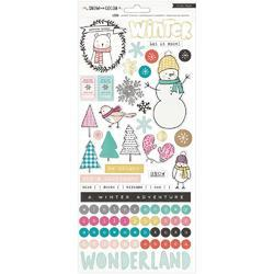 "Snow & Cocoa Foiled Stickers 6""x12"" 2/Sheets"