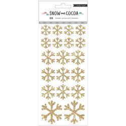 Snow & Cocoa Snowflakes Gold Glitter Stickers 48/Pkg