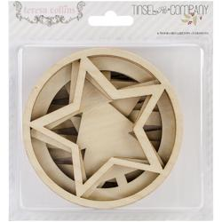 Tinsel  & Company Ornaments Laser-Cut Wooden Shapes 6 pkg - 1