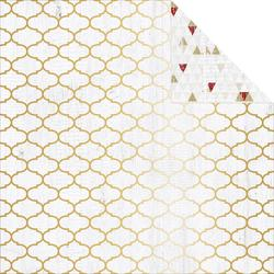 "Tinsel & Company Gold Quatrefoil Foiled Double-Sided Cardstock 12""x12"""
