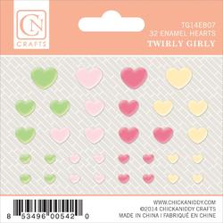 Twirly Girl Self-Adhesive Enamel Hearts 32 pkg
