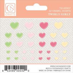 Twirly Girl Self-Adhesive Enamel Hearts 32 pkg