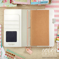 """Color Crush Faux Leather Travelers' Planner 5.75""""X8"""" Blush Stripe - 2"""