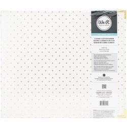 "Cream W/Gold Foil Dots Leather D-Ring Album 12""x12"" - 2"