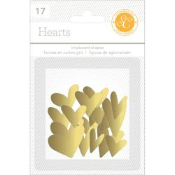 Hearts Gold  Chipboard Shapes 17 pkg - 2