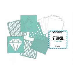 Heidi Swapp 4x4 Mini Stencil & Cardstock Kit - Patterns - 2