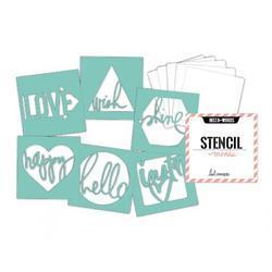 Heidi Swapp 4x4 Mini Stencil & Cardstock Kit - Words - 2