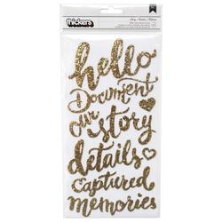 Open Book Story Phrases/Gold Glitter Foam Thickers Stickers - 2