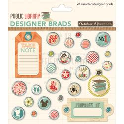 Public Library Designer Brads 28 pkg - 2