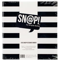 """Sn@p! Black Stripe Designer Binder 6""""x8"""" - 2"""