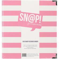 """Sn@p! Pink Stripe Designer Binder 6""""x8"""" - 2"""