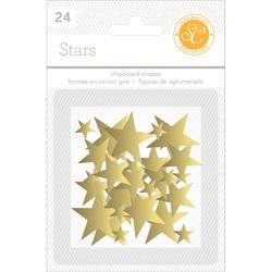 Stars Gold  Chipboard Shapes 24 pkg - 2