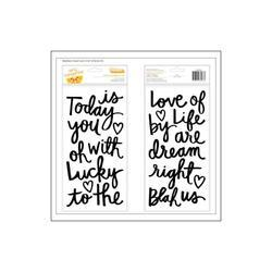 Stitched Today Accent Words/Black Foam Thickers Stickers 2 sheets - 2