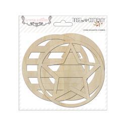 Tinsel  & Company Ornaments Laser-Cut Wooden Shapes 6 pkg - 2