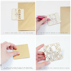 Wanderlust Geometric Print/Gold Rub-On Foil Kit - 3