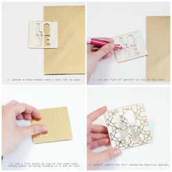 Wanderlust Geometric Print/Gold Rub-On Foil Kit - 3