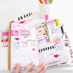 Color Fresh Personal Memory Pink Glitter Planner Boxed Kit - 4